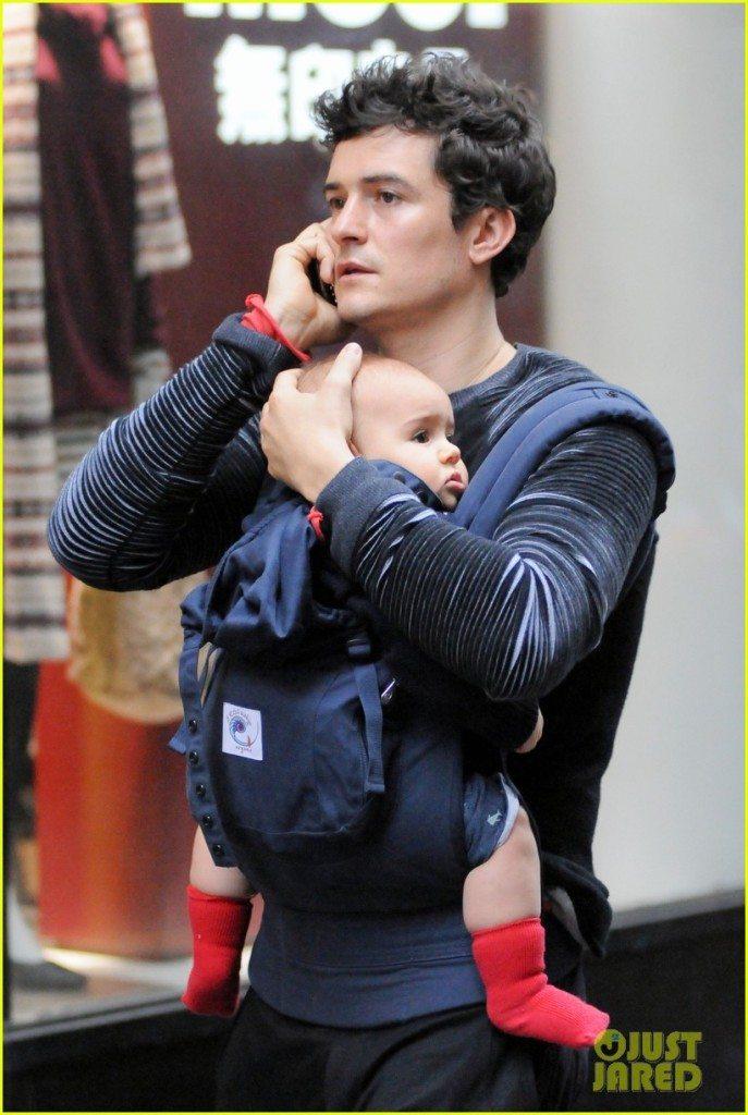 Exclusive - Orlando Bloom Totes Baby Flynn Around NYC